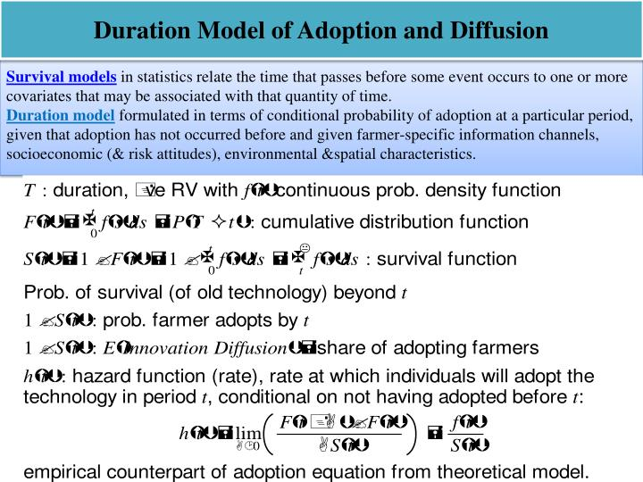 Duration Model of Adoption and Diffusion