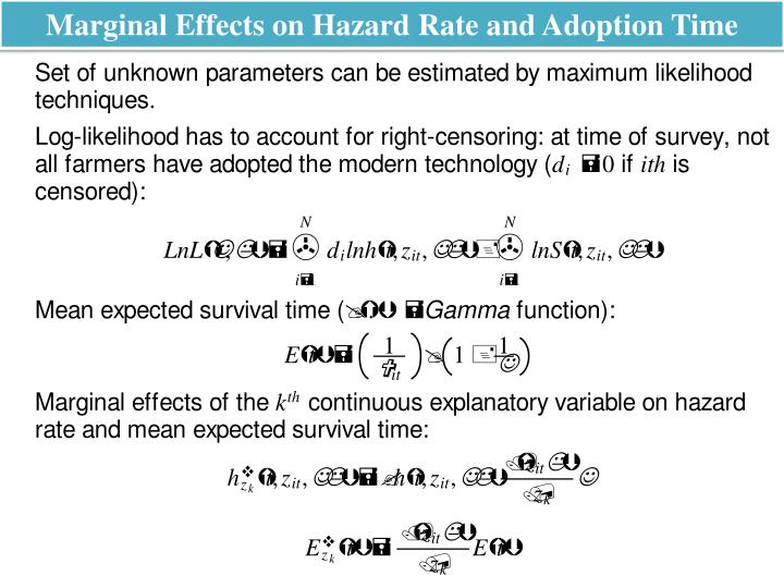 Marginal Effects on Hazard Rate and Adoption Time