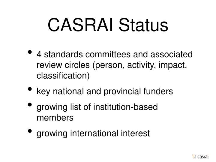 CASRAI Status