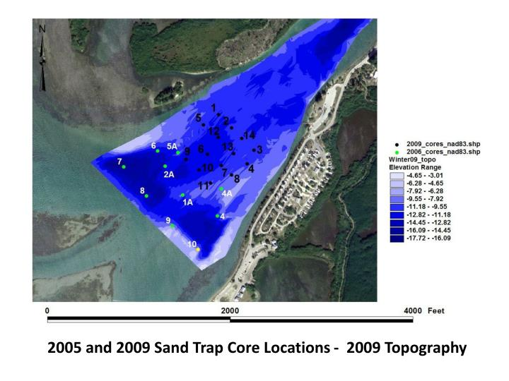 2005 and 2009 Sand Trap Core Locations -  2009 Topography