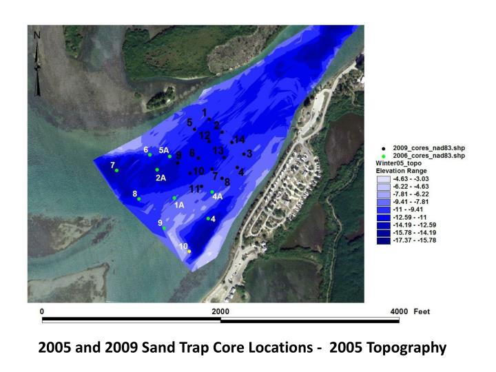 2005 and 2009 Sand Trap Core Locations -  2005 Topography