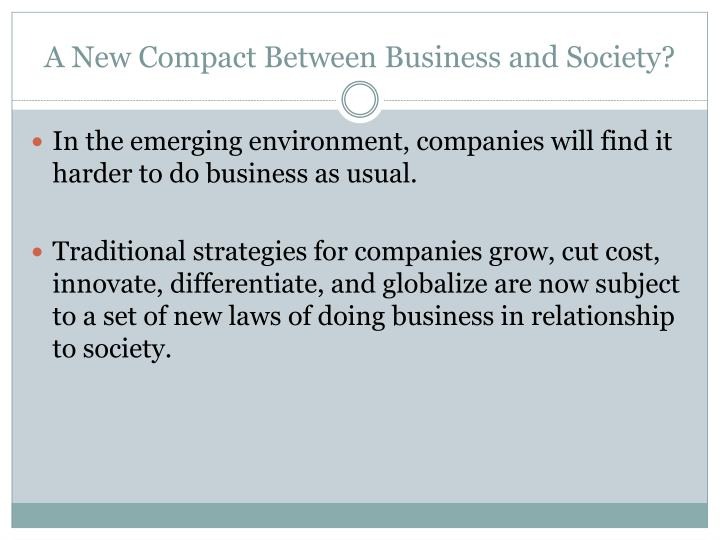 A New Compact Between Business and Society?