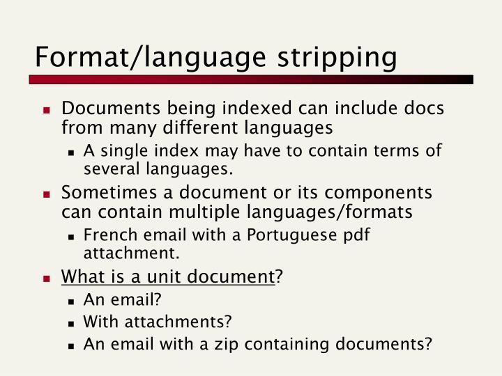 Format/language stripping