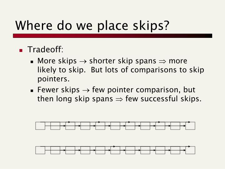 Where do we place skips?