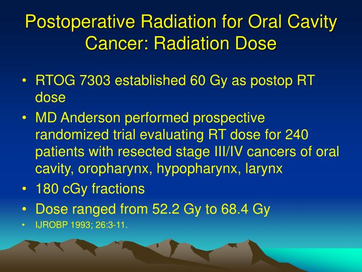 Postoperative Radiation for Oral Cavity Cancer: Radiation Dose