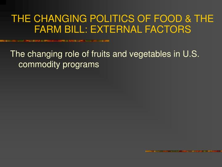 politics of food This course encompasses the study of eating as it affects the health and well-being of every human topics include taste preferences, food aversions, the regulation of hunger and satiety.