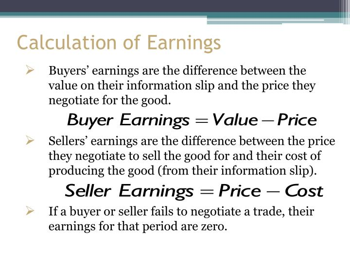 Calculation of Earnings
