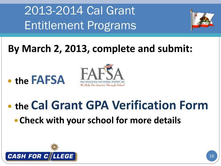 2013-2014 Cal Grant