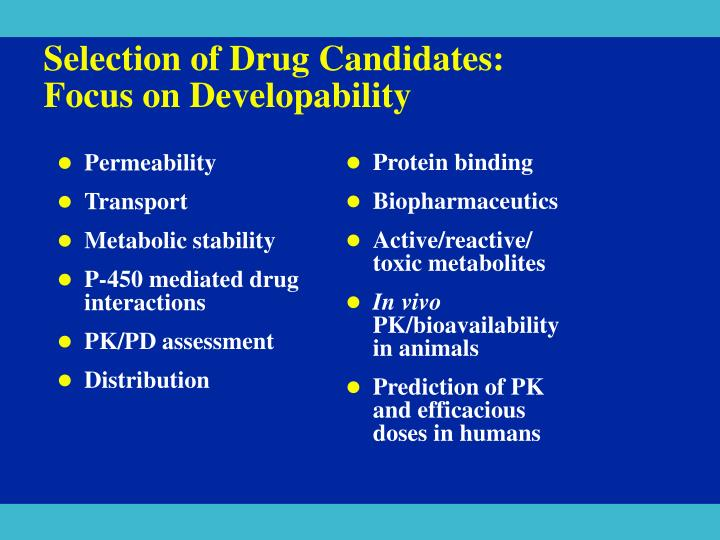 Selection of Drug Candidates: