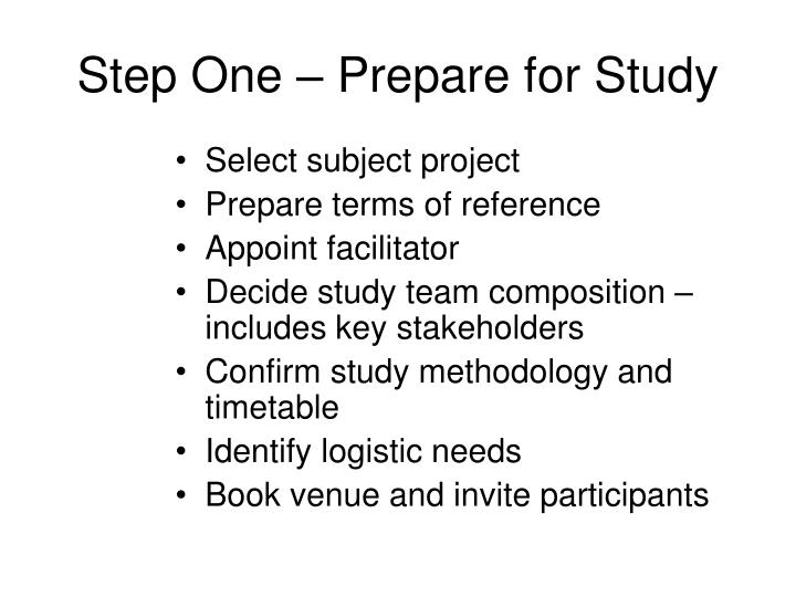 Step One – Prepare for Study