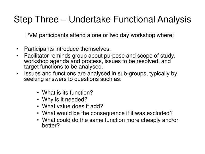 Step Three – Undertake Functional Analysis