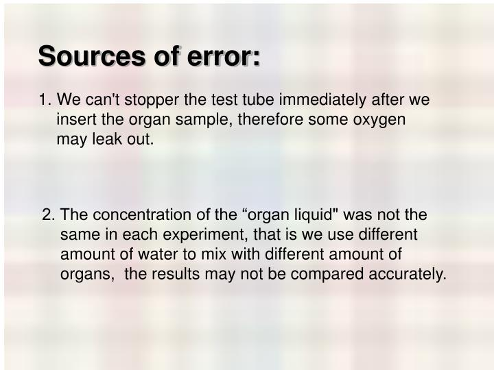 Sources of error: