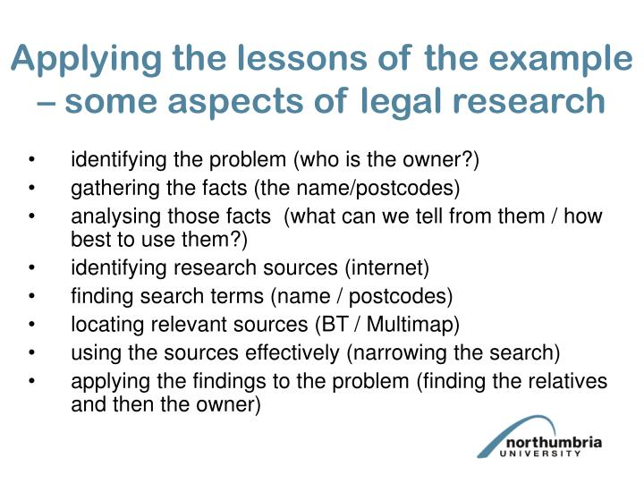 Applying the lessons of the example – some aspects of legal research