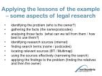 applying the lessons of the example some aspects of legal research
