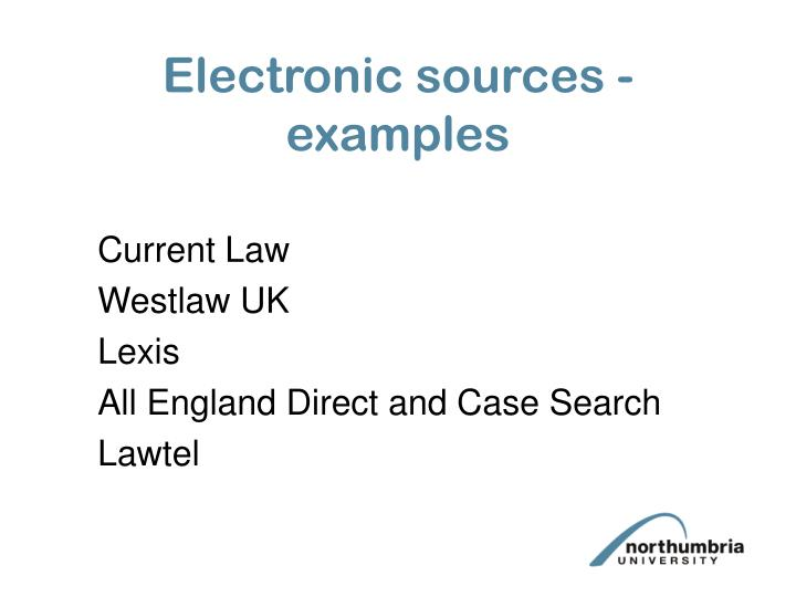 Electronic sources - examples