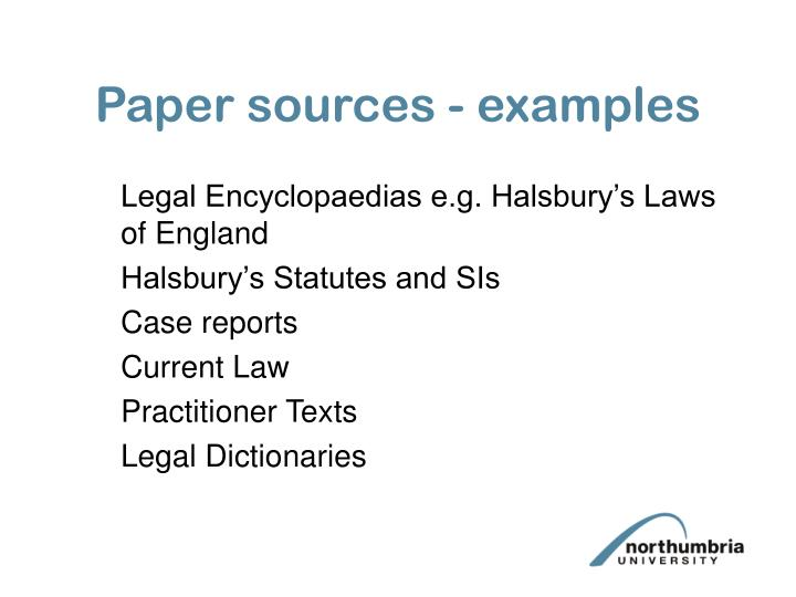 Paper sources - examples