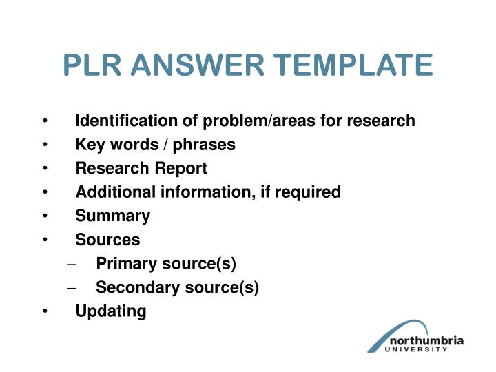 PLR ANSWER TEMPLATE