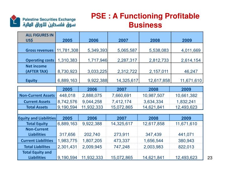 PSE : A Functioning Profitable Business