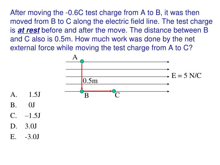 After moving the -0.6C test charge from A to B, it was then moved from B to C along the electric field line. The test charge is