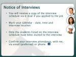notice of interviews
