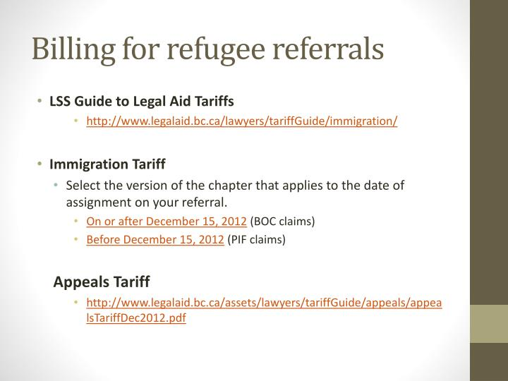 Billing for refugee referrals