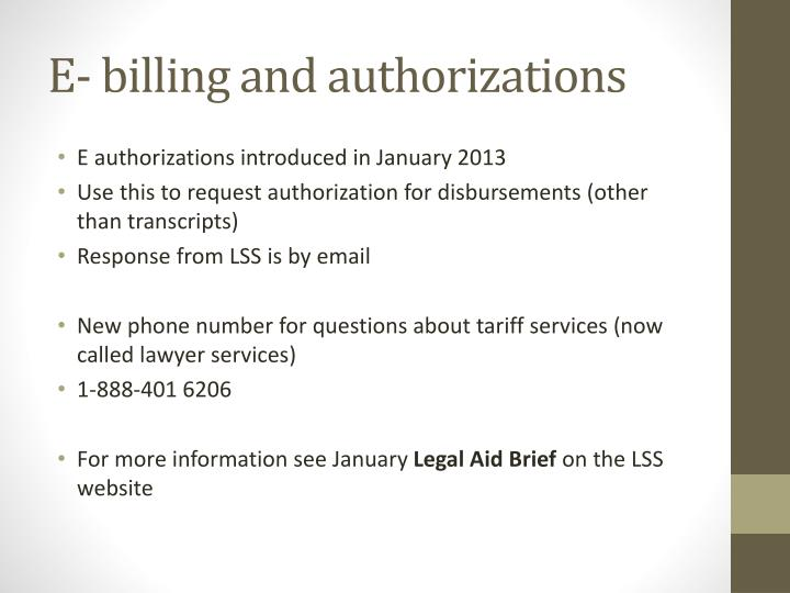 E- billing and authorizations