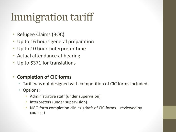Immigration tariff
