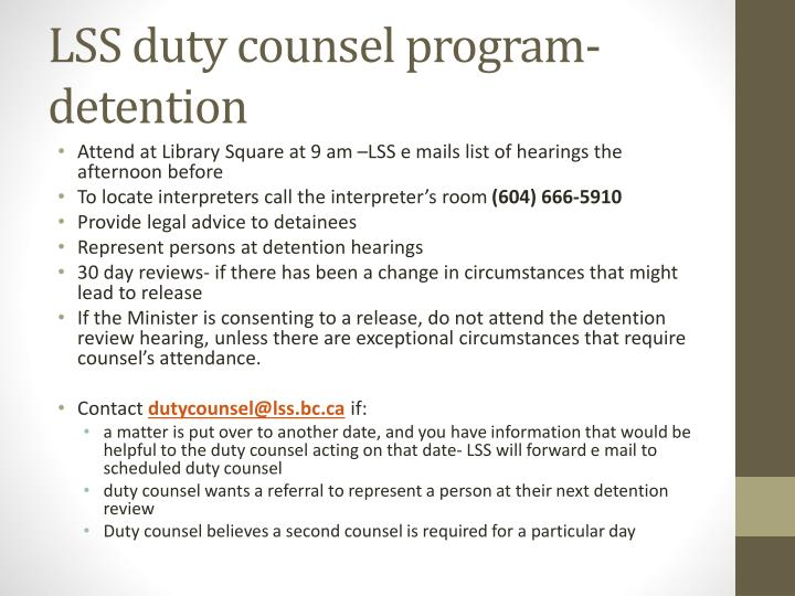 LSS duty counsel program-detention