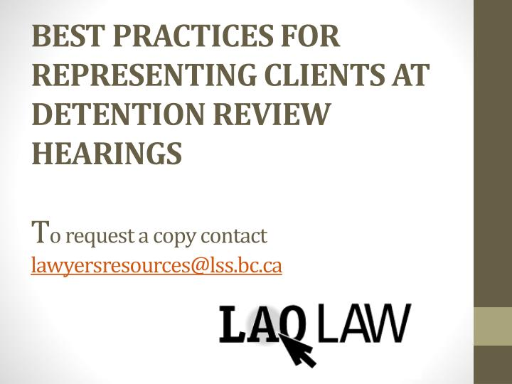 Best Practices For Representing Clients At