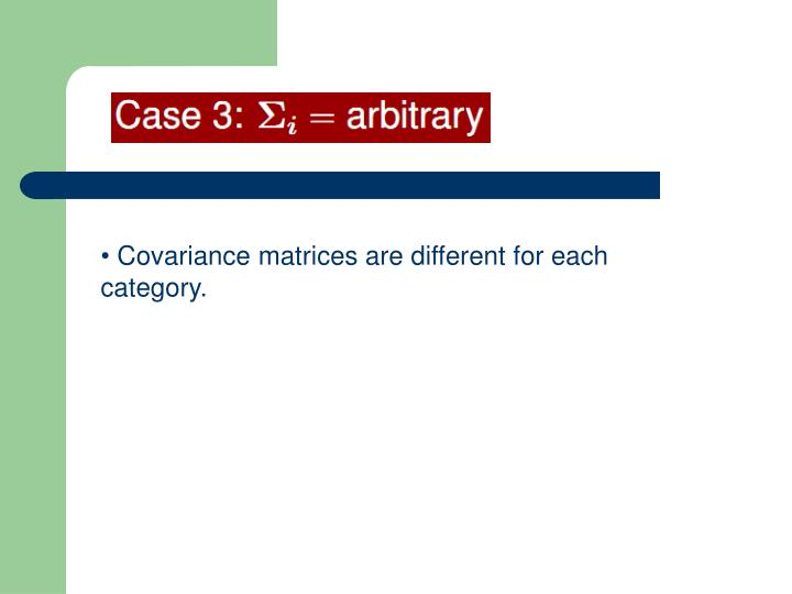 Covariance matrices are different for each category.
