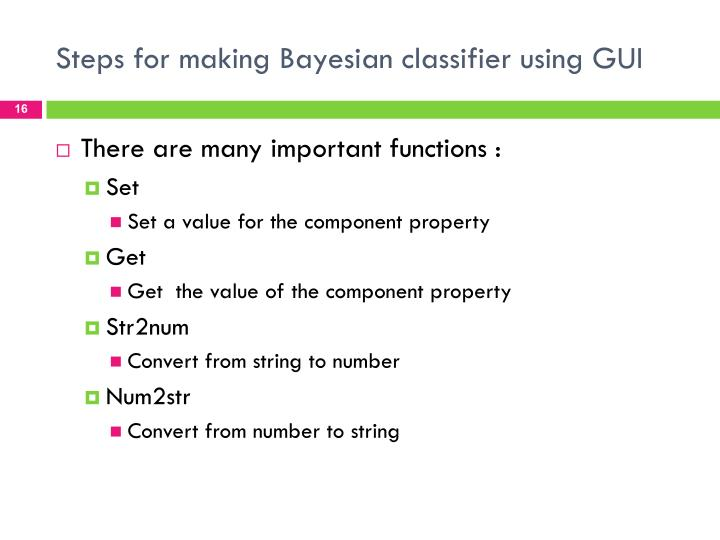 Steps for making Bayesian classifier using GUI