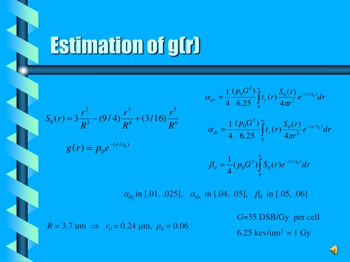 Estimation of g(r)
