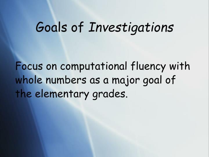 Goals of