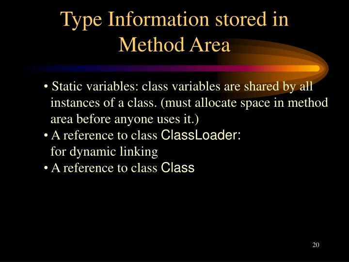 Type Information stored in Method Area