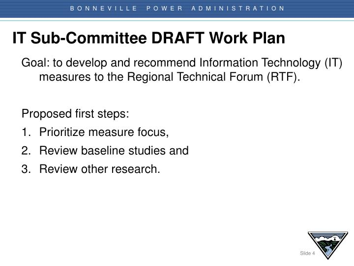 IT Sub-Committee DRAFT Work Plan