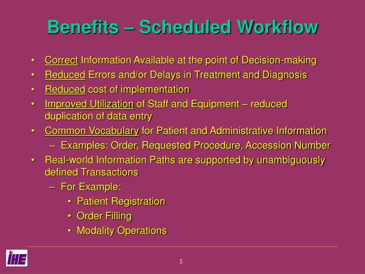 Benefits – Scheduled Workflow