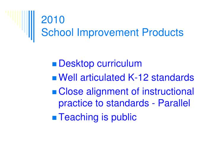 2010 school improvement products