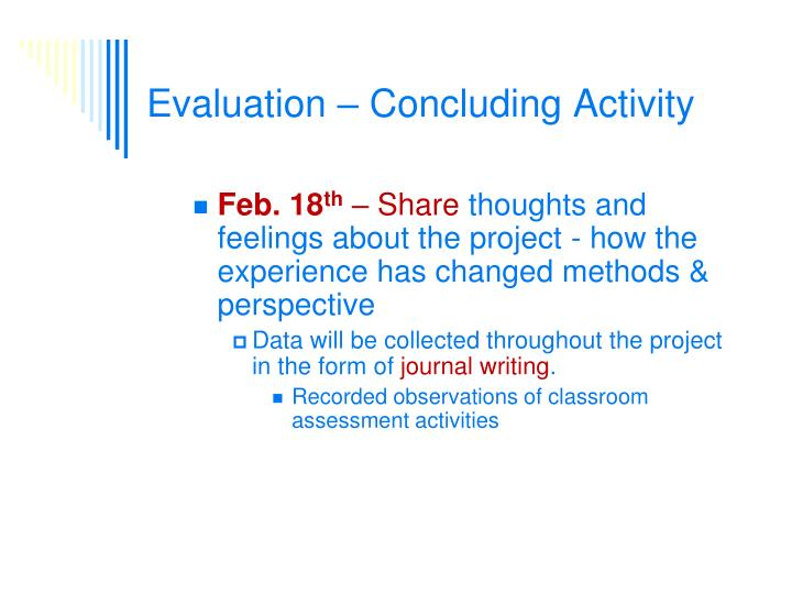 Evaluation – Concluding Activity