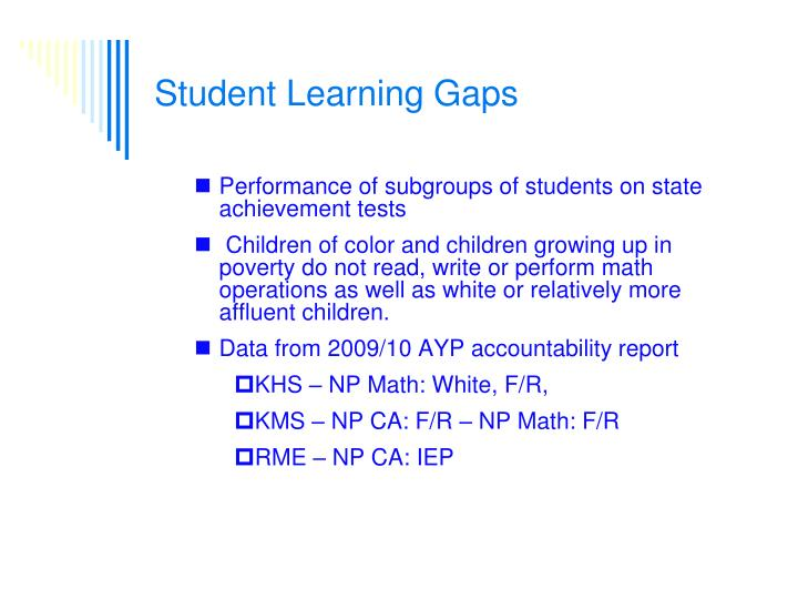 Student Learning Gaps