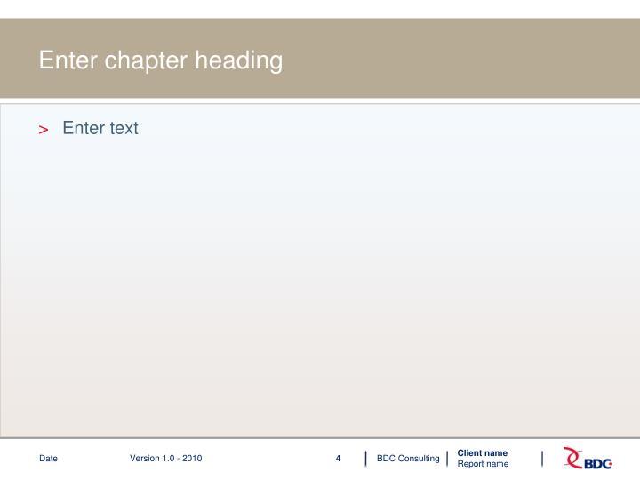 Enter chapter heading