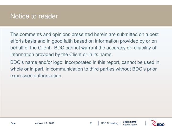 Notice to reader
