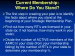 current membership where do you stand