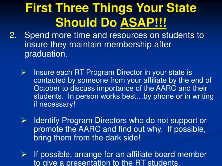 First Three Things Your State Should Do