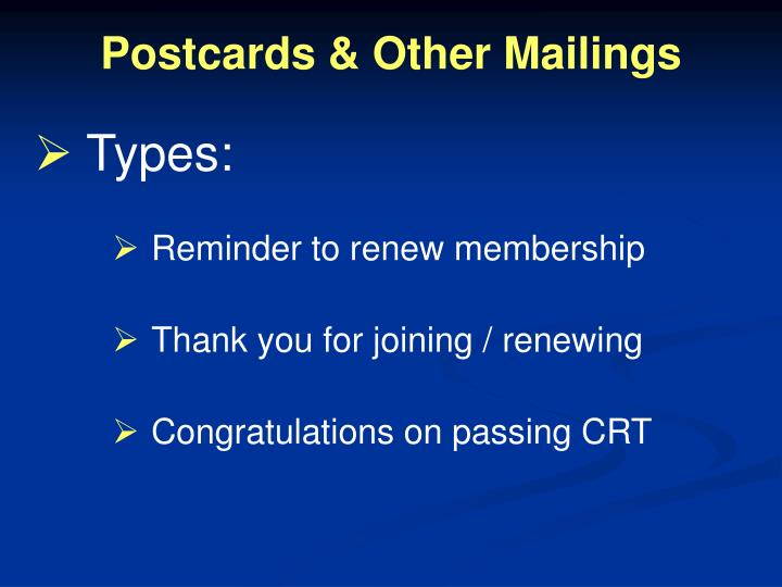 Postcards & Other Mailings
