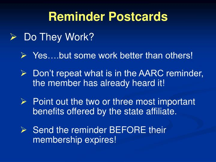 Reminder Postcards