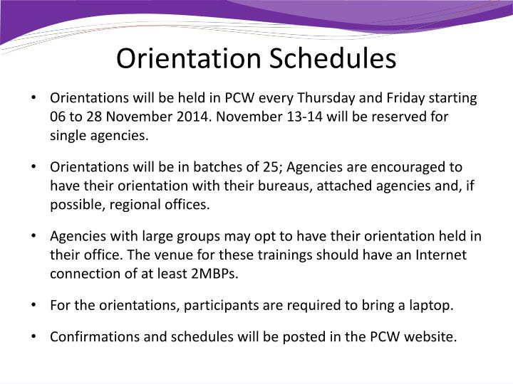 Orientation Schedules