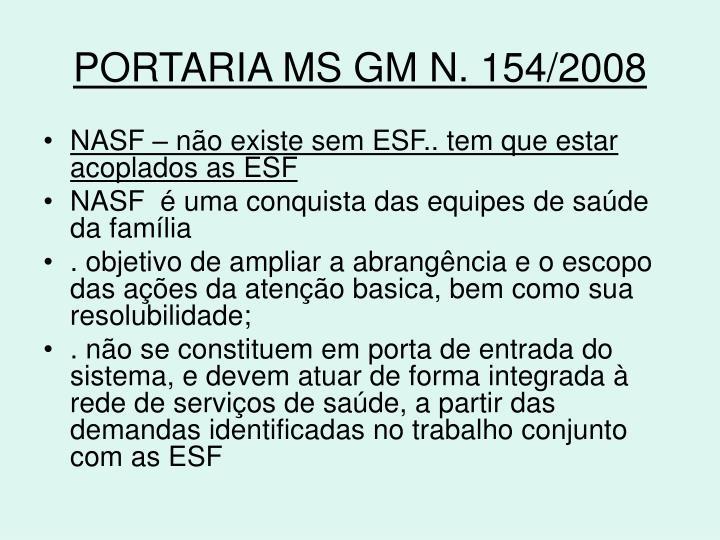 PORTARIA MS GM N. 154/2008