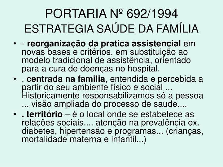 PORTARIA Nº 692/1994