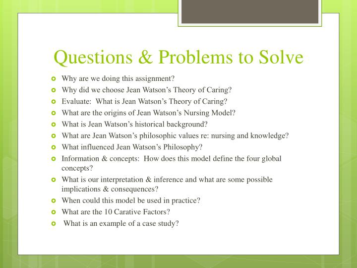 Questions & Problems to Solve