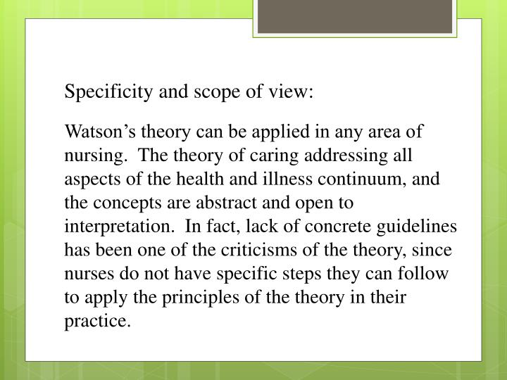 Specificity and scope of view